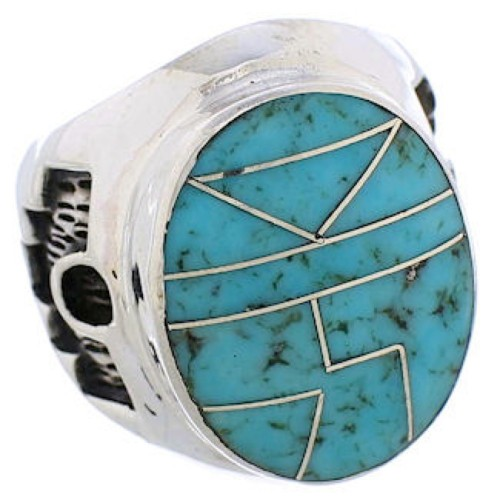 Silver And Turquoise Inlay Southwest Ring Size 5-3/4 TX38626