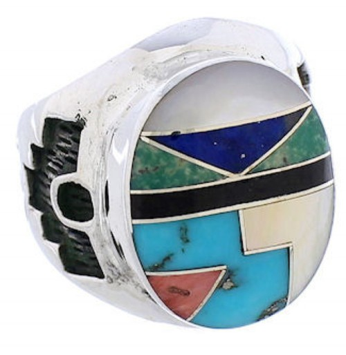 Multicolor Silver Southwestern Inlay Ring Size 6-1/2 TX38701