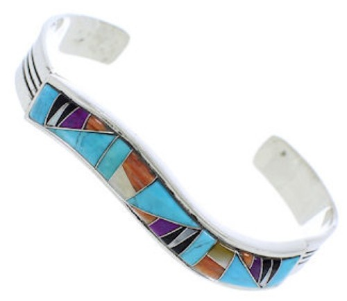 Sterling Silver Southwest Multicolor Inlay Cuff Bracelet FX28108