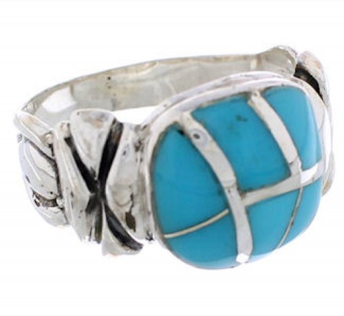 Southwest Turquoise Inlay And Silver Ring Size 5-1/4 TX39930