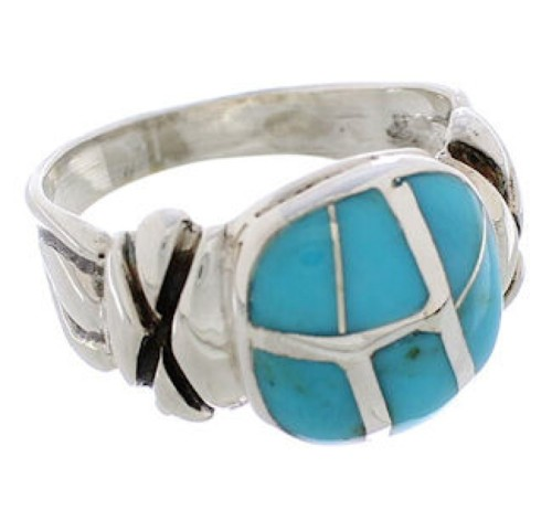Silver And Turquoise Southwest Ring Size 8 TX39965