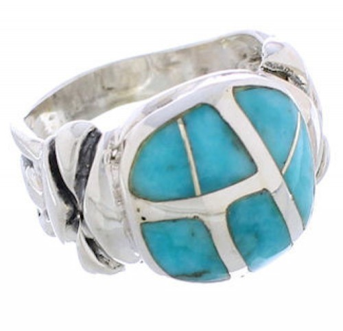 Silver Southwestern Turquoise Inlay Ring Size 7-1/4 TX39986