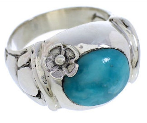 Authentic Sterling Silver Turquoise Flower Ring Size 5 UX33331
