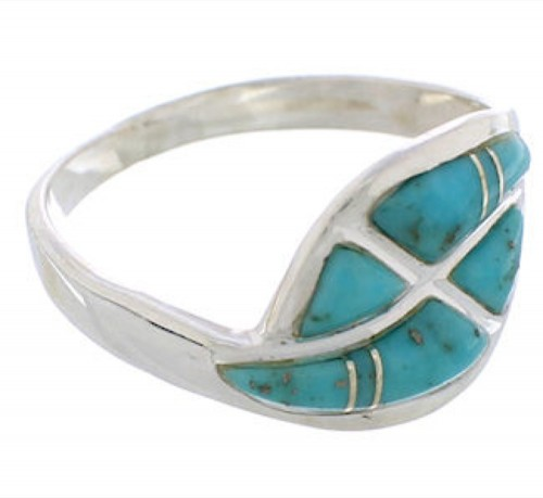 Sterling Silver Turquoise Inlay Ring Size 7-3/4 WX40829