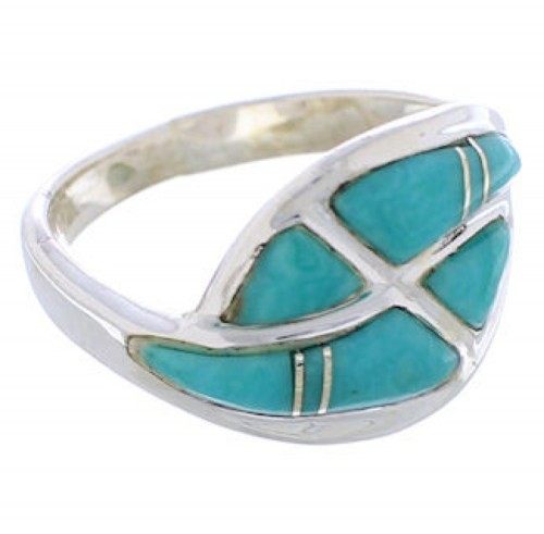 Sterling Silver Southwest Turquoise Inlay Ring Size 4-3/4 WX40917