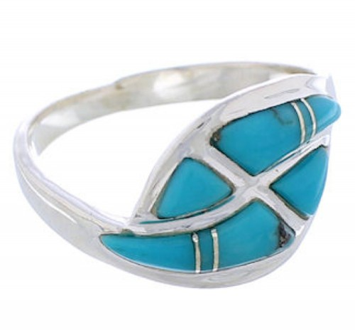 Southwest Turquoise Sterling Silver Ring Size 7-1/4 WX40964