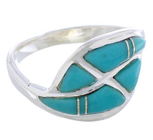 Silver Turquoise Inlay Southwest Ring Size 8-1/4 WX41027