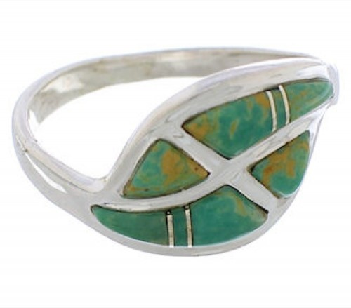 Turquoise Inlay Genuine Sterling Silver Ring Size 7-1/4 WX41061
