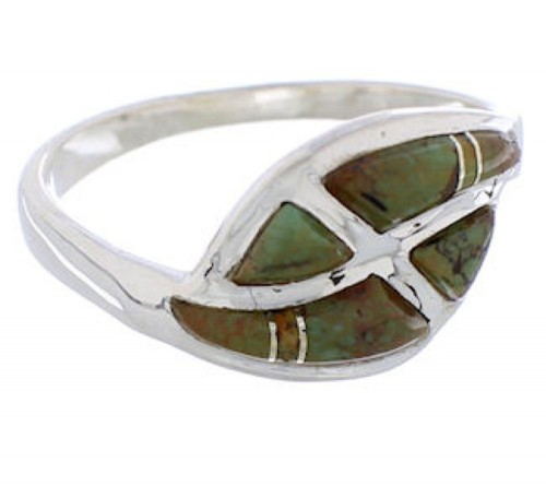 Sterling Silver Jewelry Turquoise Inlay Ring Size 8-1/4 WX41073