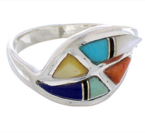 Multicolor Inlay Genuine Sterling Silver Ring Size 5-1/4 WX41177