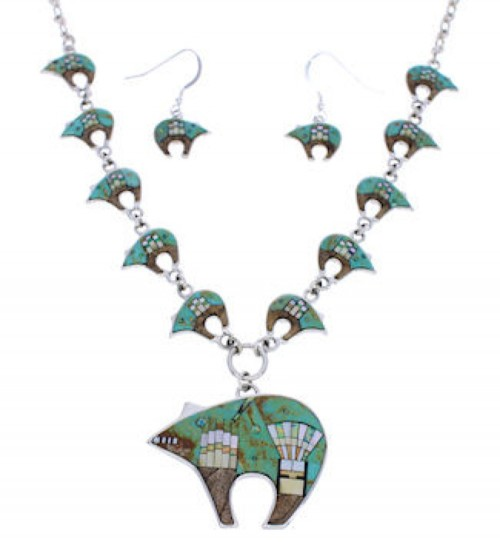 Native Mesa Design Multicolor Bear Earrings Link Necklace PX37992