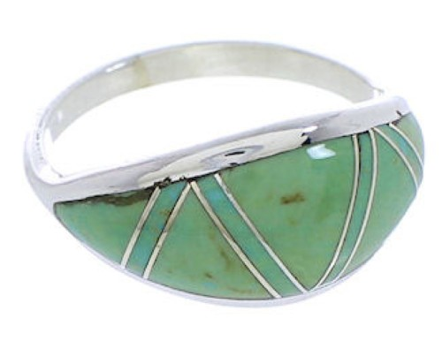 Genuine Sterling Silver Turquoise Inlay Ring Size 5-1/4 ZX36262