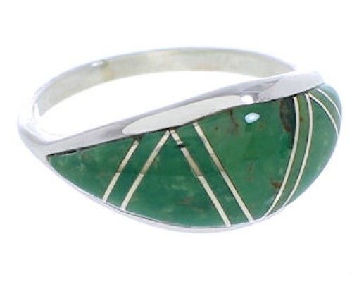 Turquoise Inlay Genuine Sterling Silver Ring Size 6-3/4 ZX36281