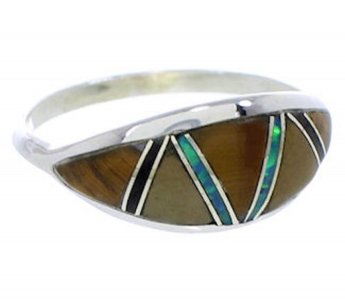 Genuine Sterling Silver Tiger Eye Multicolor Ring Size 8-3/4 ZX36387