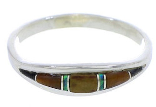 Authentic Sterling Silver Multicolor Tiger Eye Ring Size 5-1/4 ZX36671