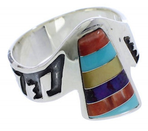 Southwestern Silver Multicolor Inlay Ring Size 7-3/4 EX40939