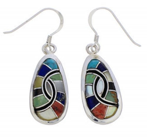 Southwest Multicolor And Sterling Silver Earrings EX31965