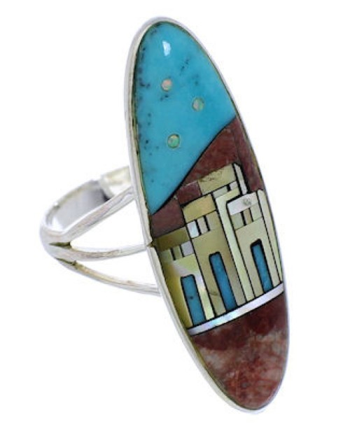 Silver Multicolor Native American Pueblo Design Ring Size 6 UX36499