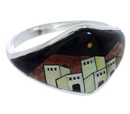 Silver Multicolor Native American Village Design Ring Size 7 UX36796