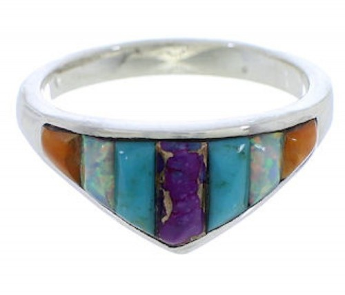 Southwest Multicolor Inlay Sterling Silver Ring Size 6-3/4 VX36948