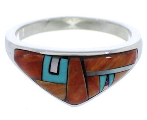 Multicolor Inlay Sterling Silver Jewelry Ring Size 7-3/4 VX36969