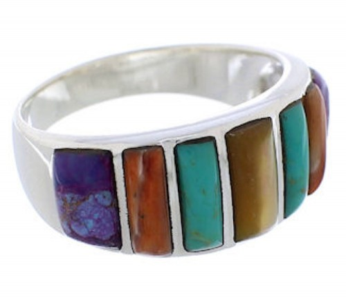 Authentic Southwestern Silver Multicolor Ring Size 8-3/4 AX36844
