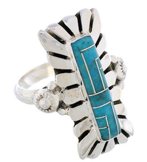 Turquoise Inlay Sterling Silver Ring Size 7-3/4 EX42805