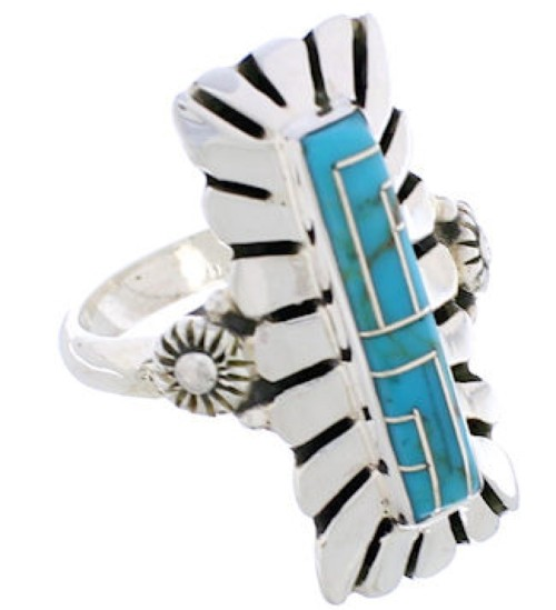 Genuine Sterling Silver And Turquoise Ring Size 7-1/4 EX42818