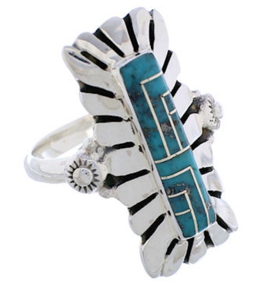 Southwest Silver And Turquoise Ring Size 8-1/2 EX42820