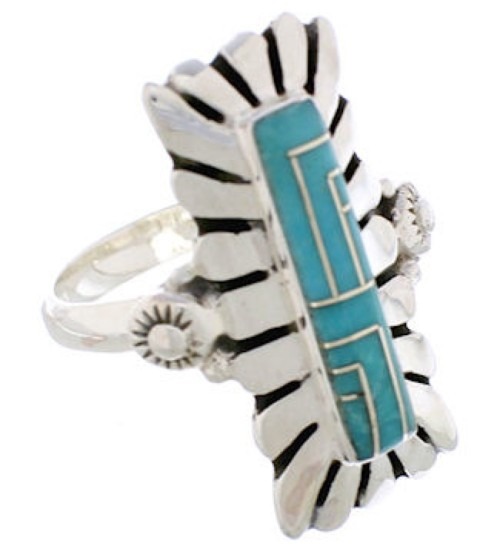Sterling Silver And Turquoise Ring Size 4-3/4 EX42845