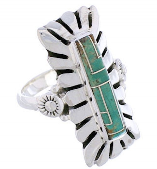 Sterling Silver And Turquoise Inlay Ring Size 5-3/4 EX42871