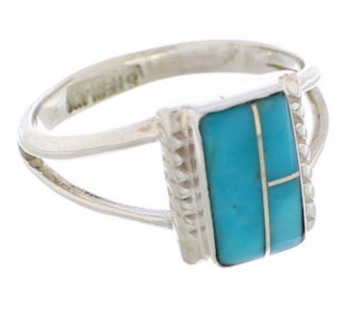Turquoise Inlay And Silver Ring Size 4-1/2 EX43011