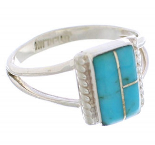 Sterling Silver And Turquoise Ring Size 7-1/2 EX43045