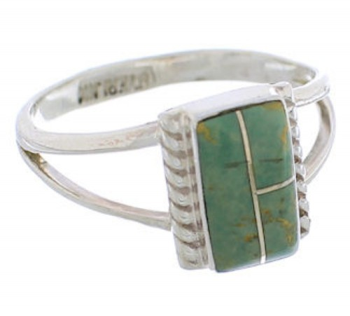 Turquoise Inlay Sterling Silver Ring Size 6-1/2 EX43114
