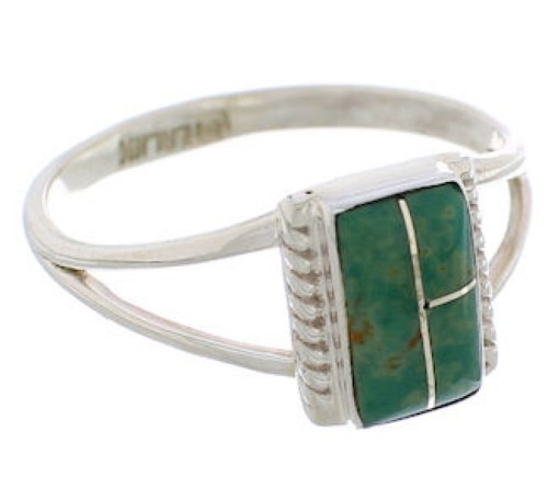 Southwest Turquoise Silver Ring Size 8-1/2 EX43151