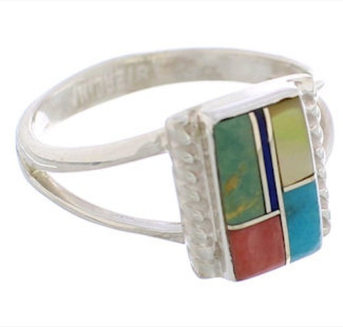 Genuine Sterling Silver Multicolor Ring Size 4-1/2 EX43193