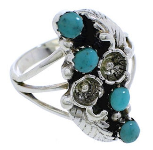Turquoise And Sterling Silver Flower Ring Size 5-1/2 EX45277