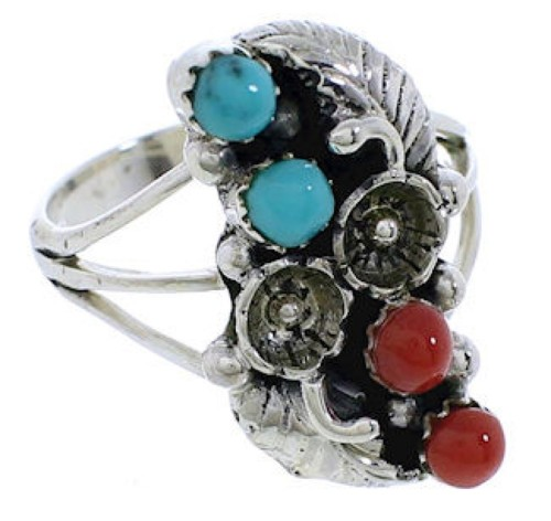 Turquoise And Coral Sterling Silver Flower Ring Size 5 EX45300