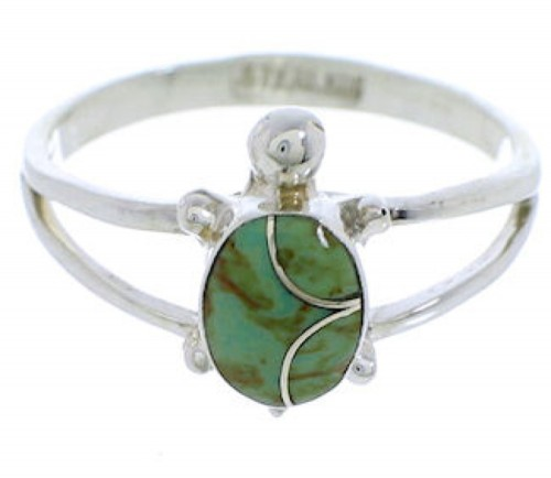 Turquoise Inlay Turtle Southwest Silver Ring Size 4-1/2 EX45337