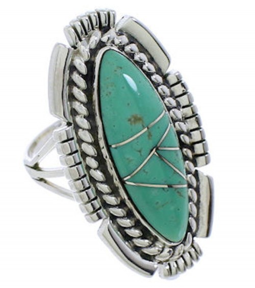 Sterling Silver Southwestern Jewelry Turquoise Ring Size 7-1/4 TX40699