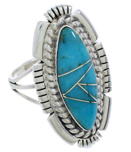 Southwestern Jewelry Turquoise Silver Ring Size 6-1/4 TX40709