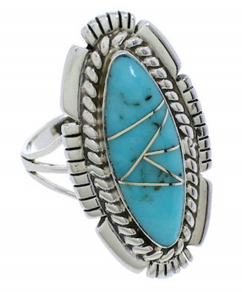 Turquoise Jewelry Silver Southwest Ring Size 8-1/4 TX40728