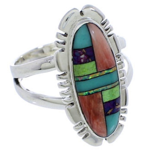 Genuine Silver Multicolor Inlay Southwest Ring Size 8-3/4 TX38087