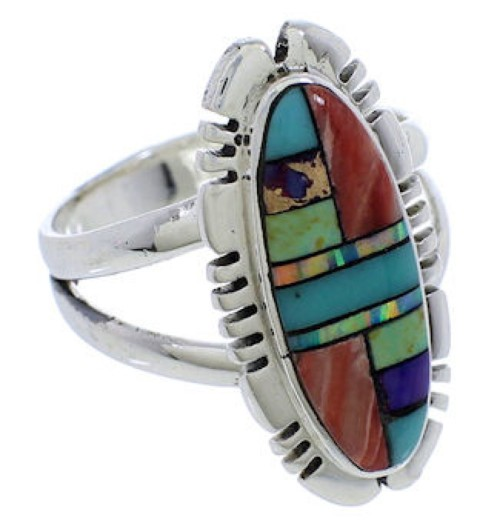Southwestern Inlay Authentic Silver Multicolor Ring Size 7-1/2 TX38104