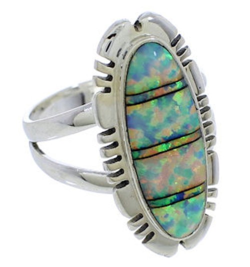 Southwestern Authentic Silver Opal Inlay Ring Size 6-1/2 TX38158