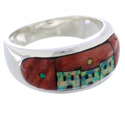 Native American Pueblo Design Multicolor Ring Size 12-1/4 TX42079