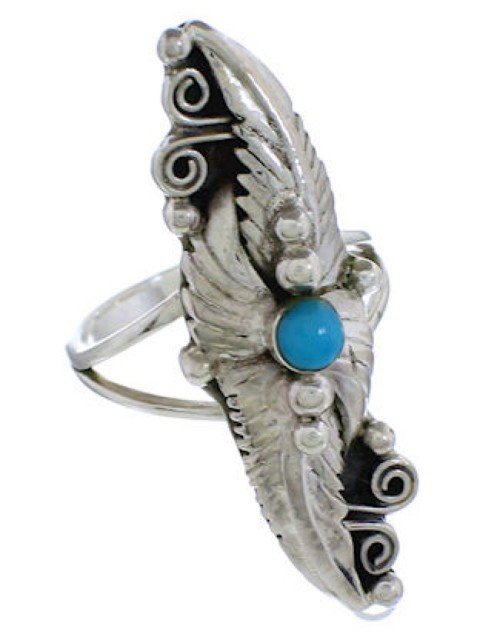 Turquoise Sterling Silver Southwestern Jewelry Ring Size 8-3/4 TX42475