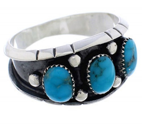 Southwestern Sterling Silver Turquoise Ring Size 11-1/2 TX28392