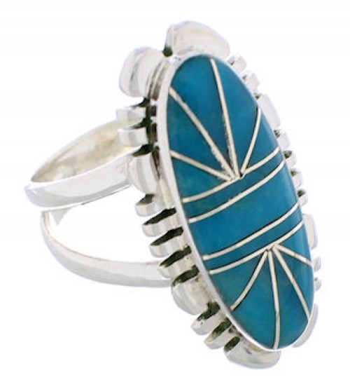Sterling Silver Turquoise Inlay Southwest Ring Size 4-3/4 TX28410