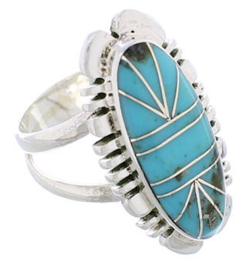 Sterling Silver Turquoise Jewelry Southwestern Ring Size 6-1/2 TX28419